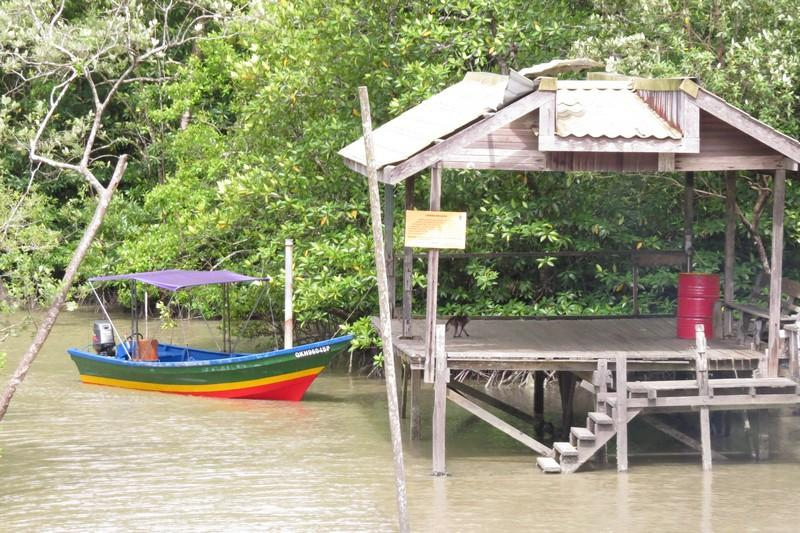 Colorful wooden boats at the docking station