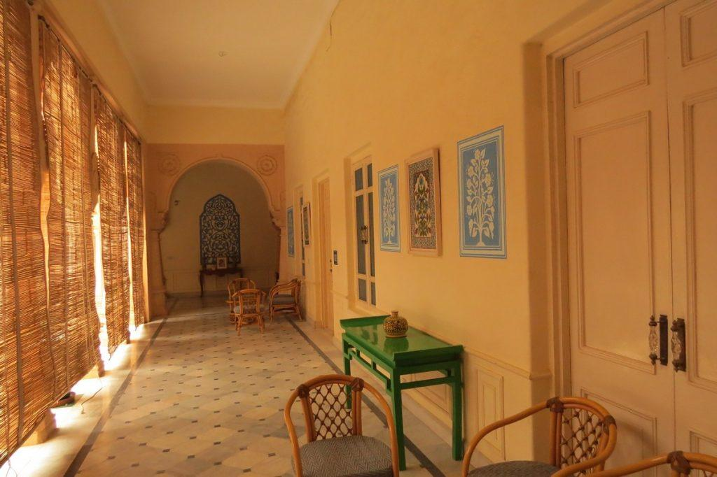 Plush corridors of Laxmi Niwas Palace