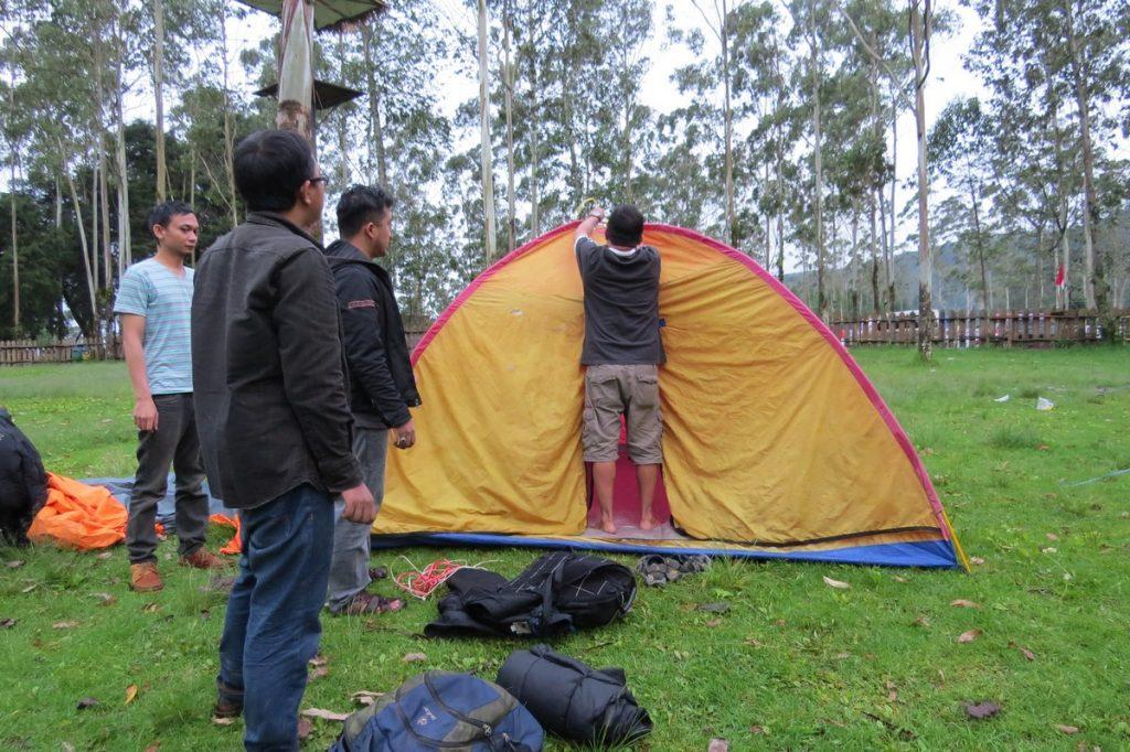 pitching tent camping