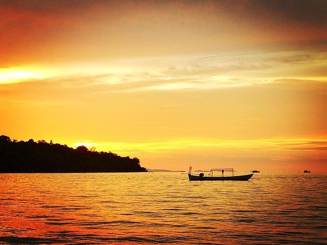 sunset cruise on mekong river