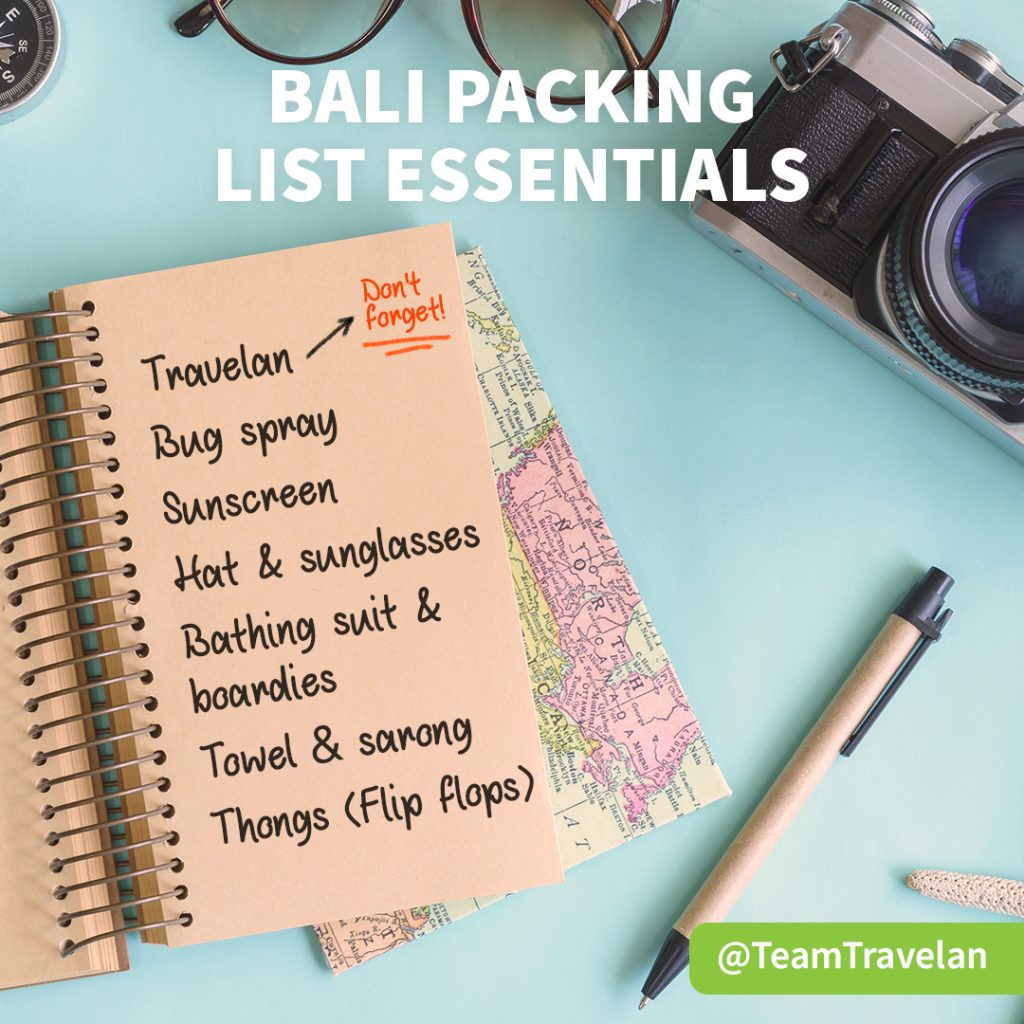 Travelan tips packing list for Bali