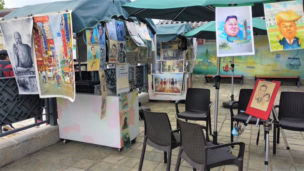 Painting and Caricature stalls at Ngong Ping village