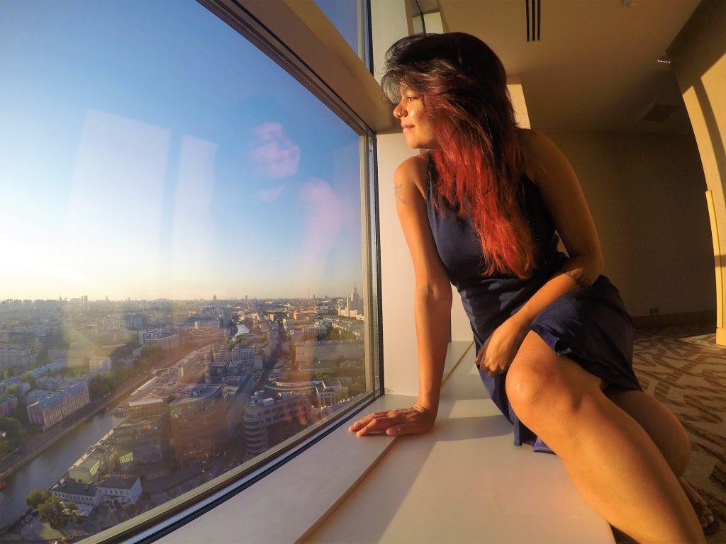 Admiring the epic city views at Swissotel