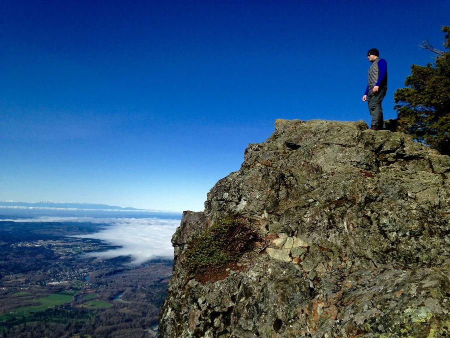 Hiker on Mount Si, Washington
