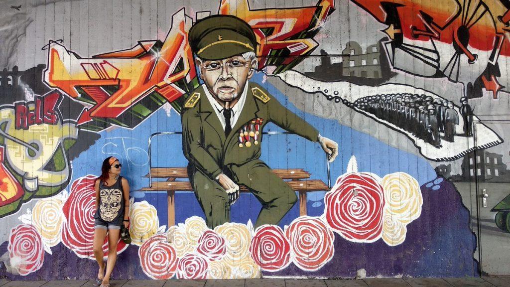 Artsy mural on the streets of Bratislava