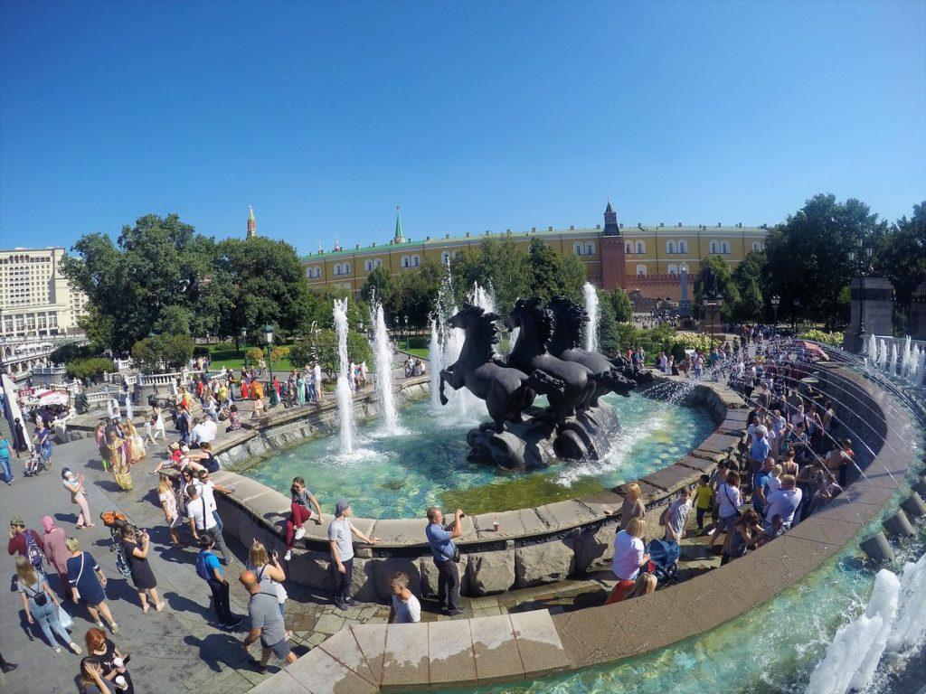 Spectacular horse fountain at Alexander Garden
